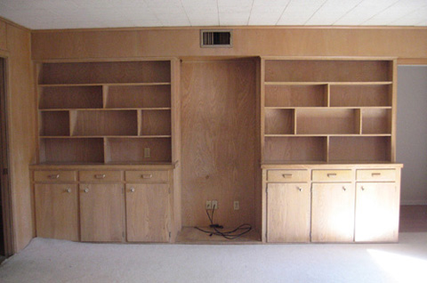 Built In Bookcase Before