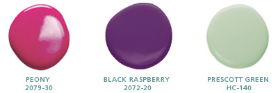 Peony 2079-30, Black Raspberry 2072-20, Prescott Green HC-140