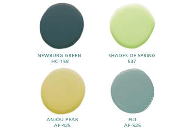 Newburg Green HC-158, Shades of Spring 537, Anjou Pear AF-425, Fiji AF-525