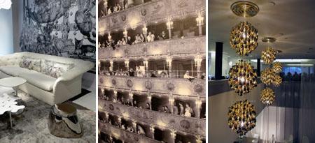 Moroso silver_Trove wallpaper_Panton lamps at Vitra