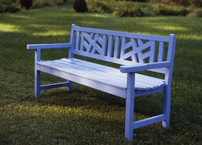 painted blue bench