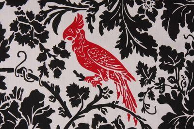 Cotton black white red fabric