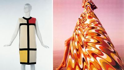 Mondrian dress by YSL and Verushka in Emilio Pucci