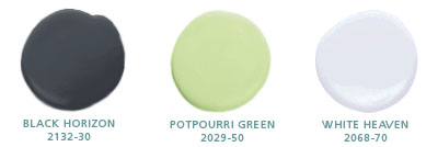 Black Horizon 2132-30, Potpourri Green 2029-50, White Heaven 2068-70