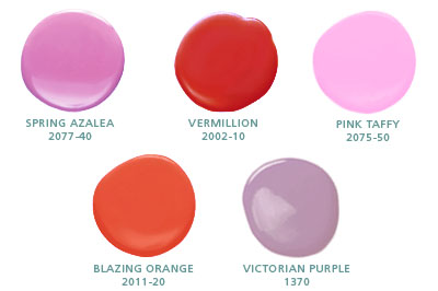 Spring Azalea 2077-40, Vermillion 2002-10, Pink Taffy 2075-50, Blazing Orange 2011-20, Victorian Purple 1370