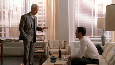 Mad Men's Roger Sterling and Roger Sterling in Don's new office