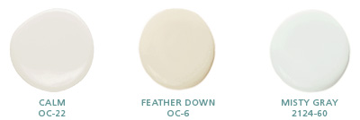 Calm OC-22; Feather Down OC-6; Misty Gray 2124-60