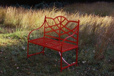 painted red bench