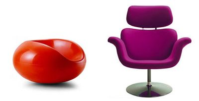 Pastil chair by Eero Aarnio and Tulip chair by Pierre Paulin