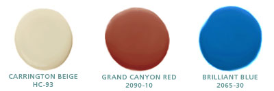Carrington Beige HC-93, Grand Canyon Red 2090-10, Brilliant Blue 2065-30