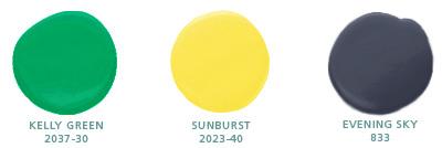 Kelly Green 2037-30, Sunburst 2023-40, Evening Sky 833