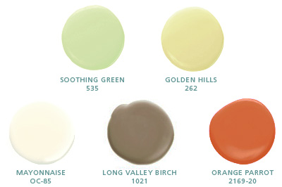 Soothing Green 535, Golden Hills 262, Mayonnaise OC-85, Long Valley Birch 1021, Orange Parrot 2169-20