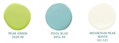 Pear Green 2028-40, Pool Blue 2052-50, Mountain Peak White OC-121