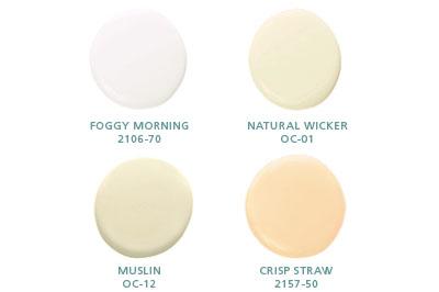 Foggy Morning 2106-70, Natural Wicker OC-01, Muslin OC-12, Crisp Straw 2157-50