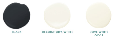Black, Decorator's White, Dove White OC-17