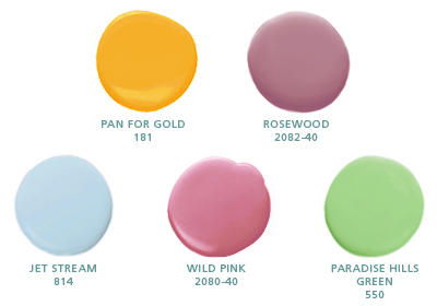 Pan for Gold 181, Rosewood 2082-40, Jet Stream 814, Wild Pink 2080-40, Paradise Hills Green 550