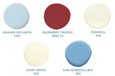 Heaven on Earth 1661, Raspberry Truffle 2080-10, Seashell 926, Ivory White 925, San Francisco Bay 802