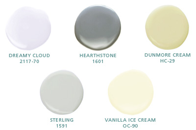 Dreamy Cloud 2117-70, Hearthstone 1601, Dunmore Cream HC-29, Sterling 1591, Vanilla Ice Cream OC-90